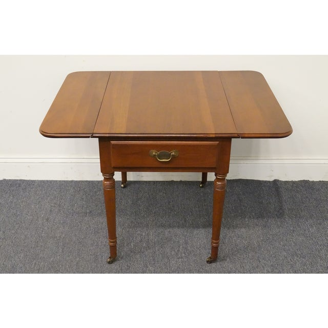 20th Century Tradiitonal Statton TruType Americana Solid Cherry Drop Leaf Pembroke End Table For Sale - Image 9 of 13