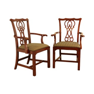 Bernhardt Design Chippendale Style Pair Mahogany Armchairs (B) For Sale