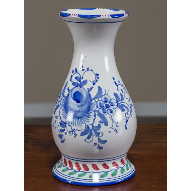 Fine Set Of Three Blue And White Hand Painted Italian Vases By