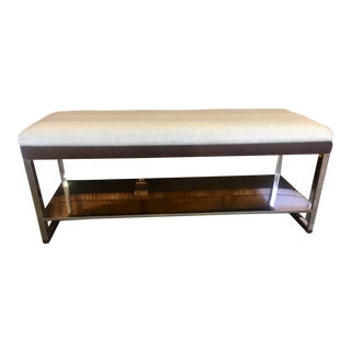 Modern Minimalist Wood & Mirrored Chrome Bench