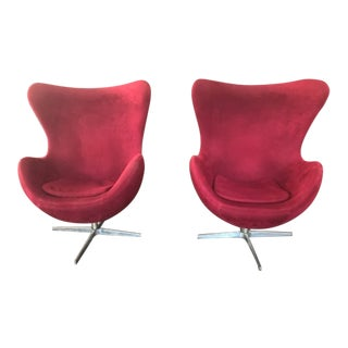 Jacobsen-Style Modern Red Egg Chairs - A Pair