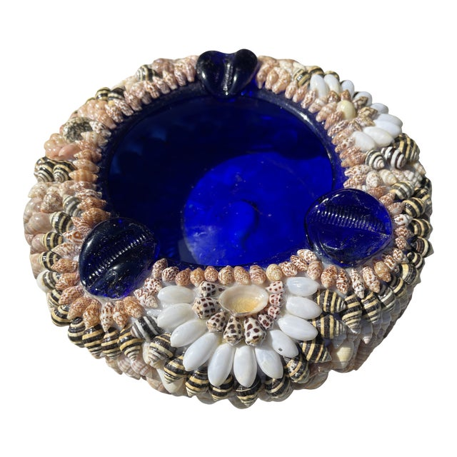 Large Shell Encrusted Ashtray Blue Glass For Sale