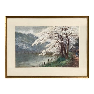 Tasuke Yokouchi Japanese Landscape With Cherry Blossoms Watercolor Painting For Sale