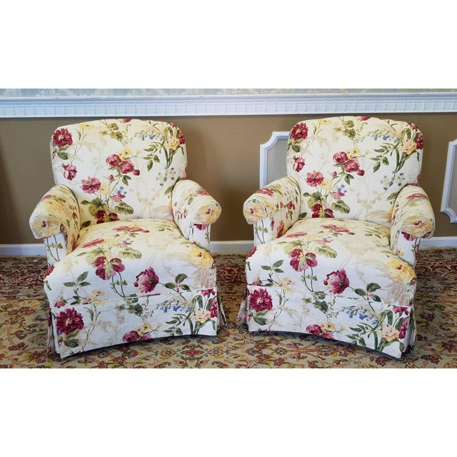 Ethan Allen Floral Upholstered Armchairs #20-7555- a Pair - Image 3 of 11