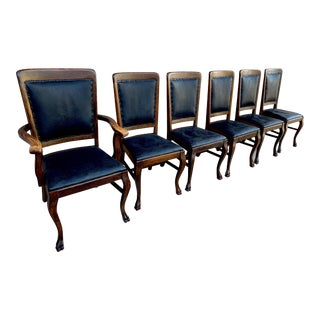 Paw Foot Leather Upholstered Quarter Sawn Oak Dining Chairs - Set of 6 For Sale