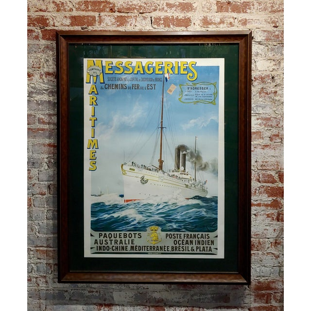 Abel Brun -Messageries Maritimes-Original 1907 Steam Boat French Poster For Sale - Image 10 of 10