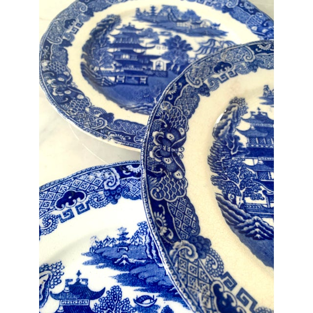 English 19th Century Broseley England Blue Willow Plates - Set of 5 For Sale - Image 3 of 6