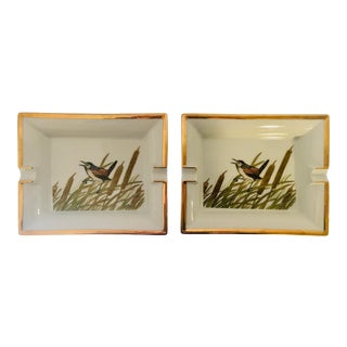 Mid 20th Century Hermès Style Bird Among Cattails Cigar Ashtray-a Pair For Sale