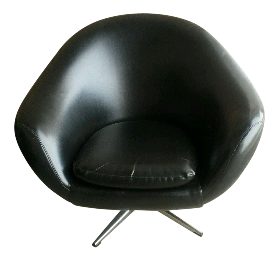 1960u0027s Mid Century Modern Black Overman Pod Chair