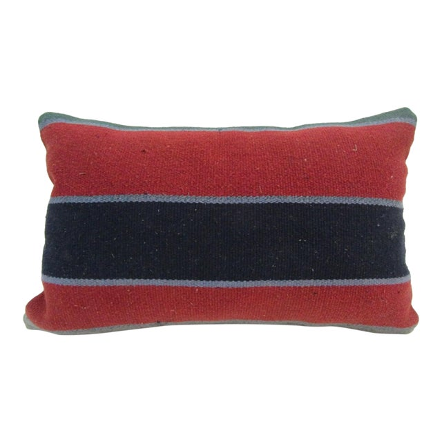 Vintage Handmade Red Striped Turkish Kilim Pillow Cover For Sale