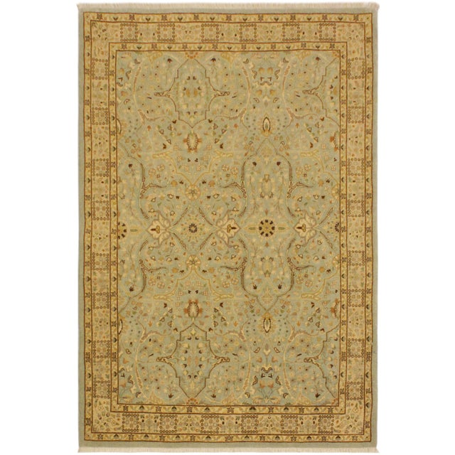 Sky Blue Semi Antique Istanbul Ira Blue/Ivory Turkish Hand-Knotted Rug -4'0 X 5'11 For Sale - Image 8 of 8