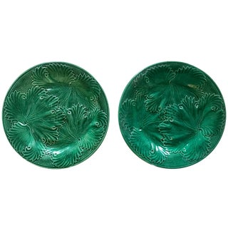 Antique Pair of Green Majolica Cabbage Leaf Plates