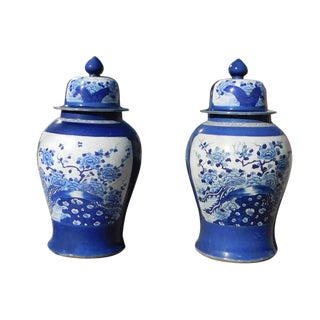 Chinese Pair Blue & White Porcelain Large Temple Jars For Sale
