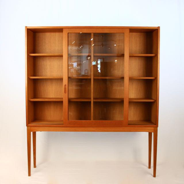 Danish Modern Vintage Oak U0026 Glass Cabinet For Sale  Image 3  Glass Cabinet For Sale5