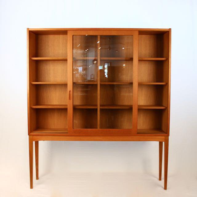 Danish Modern Vintage Oak U0026 Glass Cabinet For Sale  Image 3  Glass Cabinet For Sale5