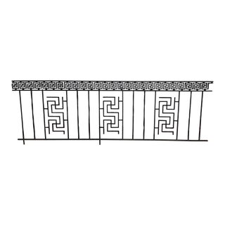 19th Century Black Wrought Iron Panel Fence Greek Key Last Call For Sale