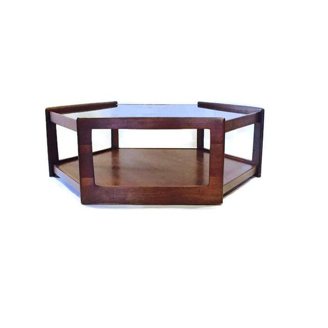 Mid Century Modern Hexagon Coffee Table Walnut Smoky Glass Top - Hexagon cocktail table