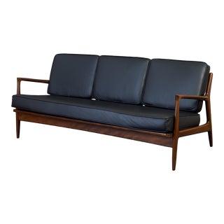 Sleek Danish Modern Sofa by Ib Kofod-Larsen in Teak and Black Leather For Sale