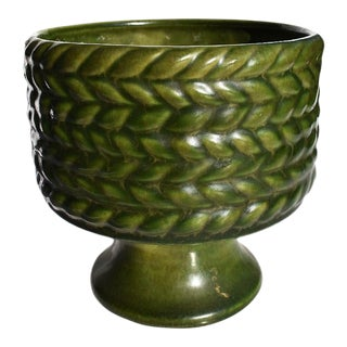 Mid-Century Modern Round Green Braided Jardiniere Planter by Haeger For Sale