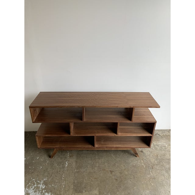 Walnut Modern Book Case For Sale - Image 4 of 13