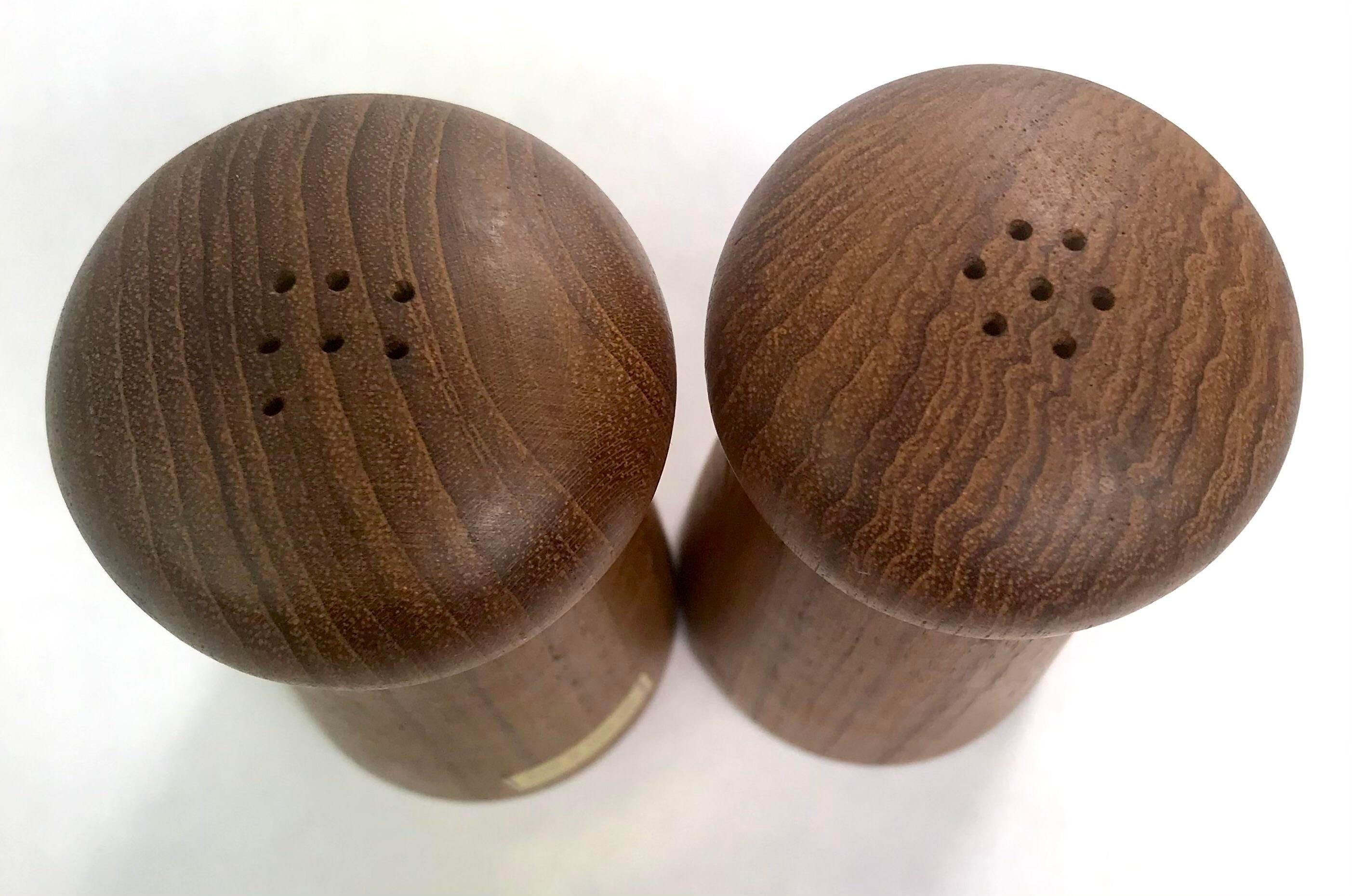 Mid Century Modern Teak Wood Mushroom Salt and Pepper Shakers