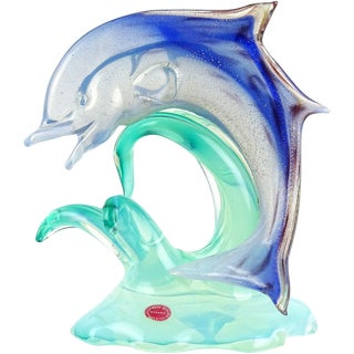 Archimede Seguso Murano Opal Blue Gold Leaf Italian Art Glass Fish Sculpture For Sale