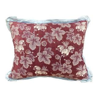 Antique Aubergine Toile Textile Throw Pillow For Sale