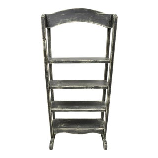 French Country Provincial Black & White Distress Painted Bookcase Display Stand For Sale