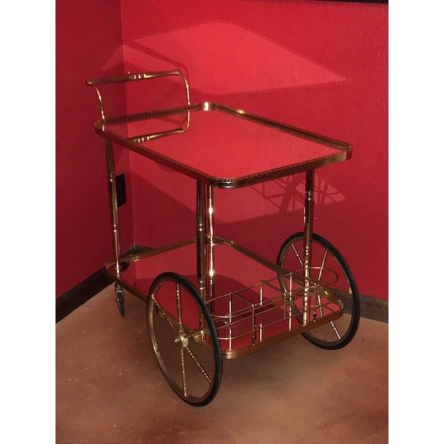 Mid Century French Hollywood Regency Brass Bar Cart W/ Mirrored Trays For Sale - Image 10 of 12