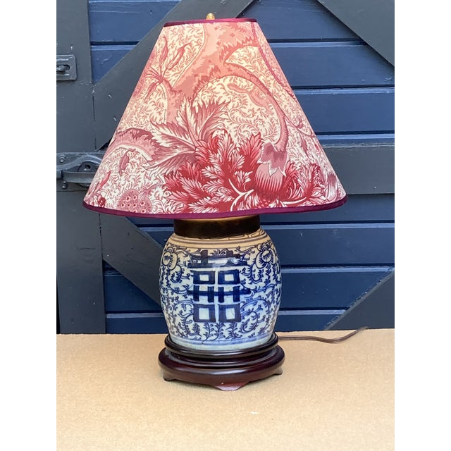 Chinoiserie Antique Blue and White Ginger Jar Lamp For Sale - Image 3 of 5