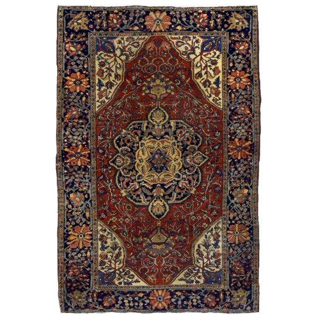 """1880s Handmade Antique Persian Sarouk Farahan Rug - 4'2"""" X 6'3"""" For Sale In New York - Image 6 of 6"""