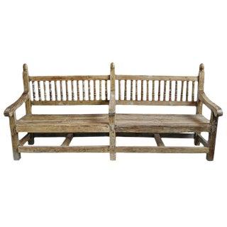 Antique Balustrade Teak Bench For Sale