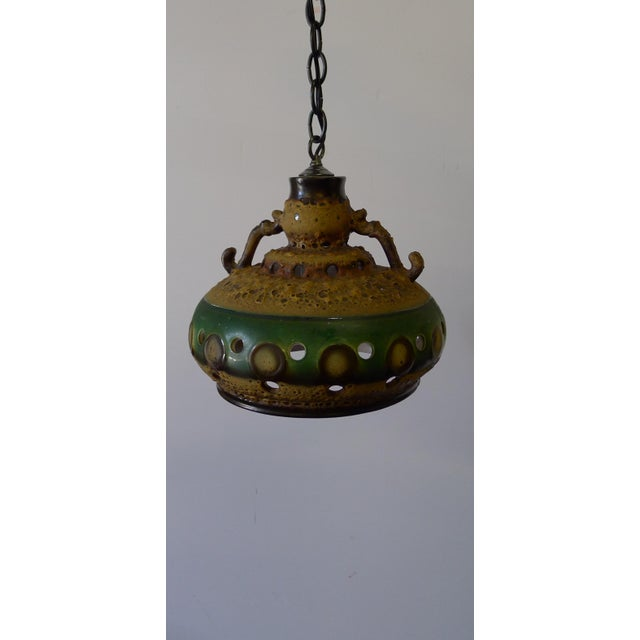 Vintage Danish Brutalist Mid Century Ceramic Pendant Light For Sale - Image 10 of 10