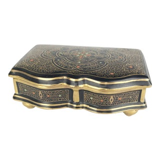 Antique Gilt Lidded Jewelry Box With Gold Scroll Pattern For Sale