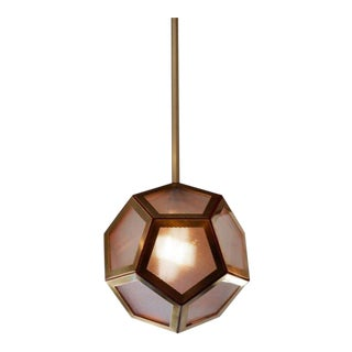 "Contemporary Design Frères Geometric Brass Tan Leather & Glass ""Pentagon"" Lantern For Sale"