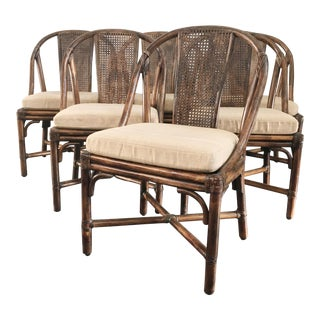 Late 20th Century Vintage McGuire Organic Bamboo Rattan Cane Dining Chairs- Set of 6 For Sale