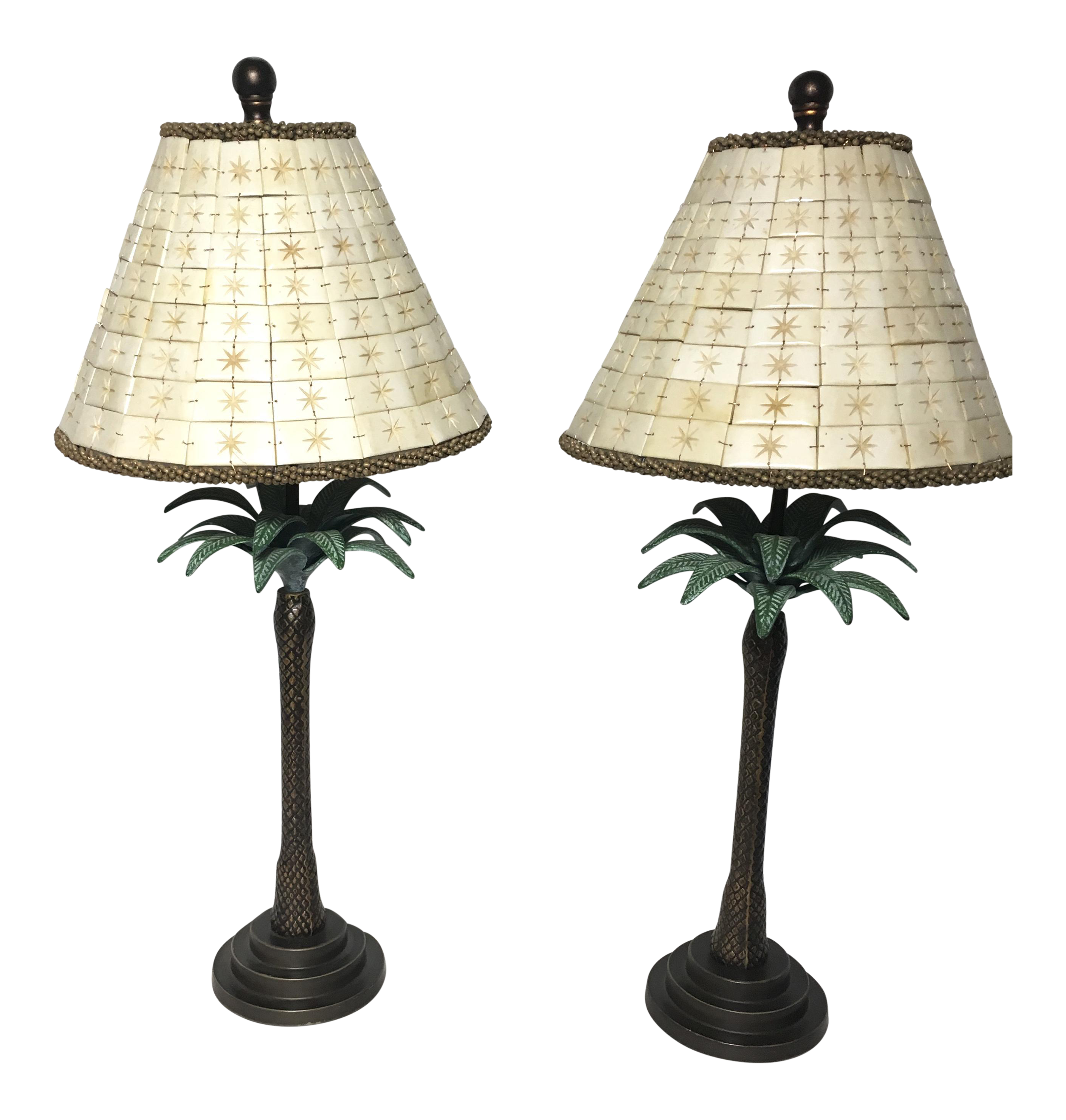 Vintage Maitland Smith Palm Tree Lamps   A Pair