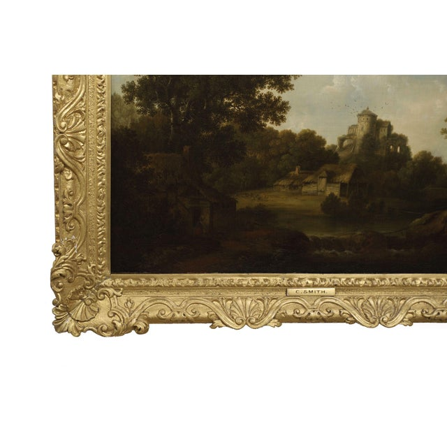 """18th Century """"Landscape W/ Castle Ruins"""" Antique English Painting by George Smith of Chichester For Sale - Image 5 of 13"""