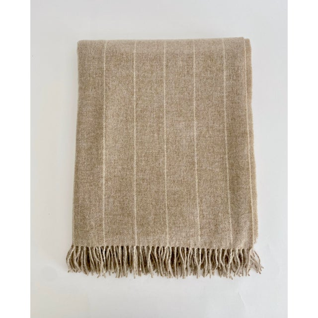 English Neutral Lambswool Throw Blanket For Sale - Image 4 of 6