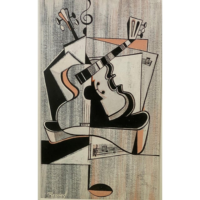 Mid-Century Modern Mid-Century Modern Cubist Pastels Painting of Guitar For Sale - Image 3 of 13