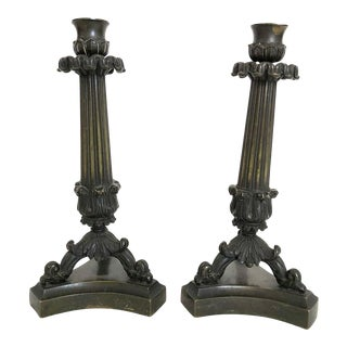 19th Century Bronze Neoclassical Candlesticks - A Pair For Sale