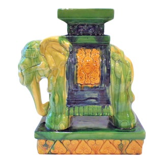 Old Sancai Chinoiserie Glazed Porcelain Elephant Plant Stand For Sale