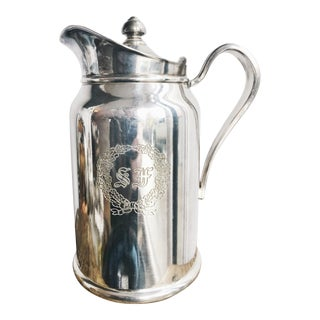 Vintage Silver Plated Insulated Pitcher From the St Francis Hotel in San Francisco For Sale