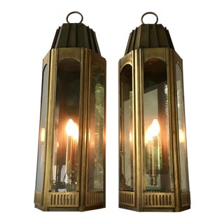 Pair of Art Deco Style Tarnished Brass Wall Lanterns 1960s For Sale