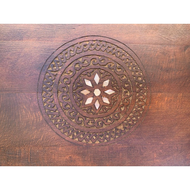 Vintage Mother of Pearl Inlay Morrocan Bench For Sale - Image 11 of 12