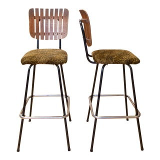 1950s Vintage Leopard Print Umanoff-Style Bar Stools - a Pair For Sale