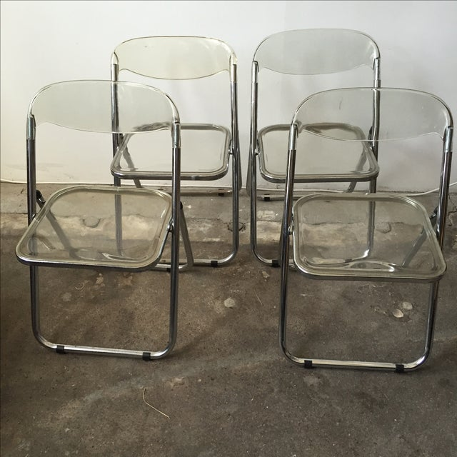Italian Lucite & Chrome Folding Chairs - Set of 4 - Image 5 of 7