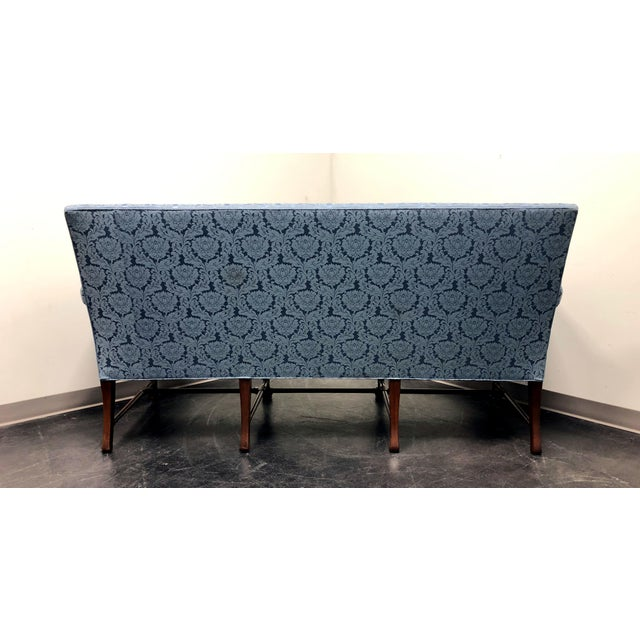 1960s Hickory Chair Queen Anne Sofa Settee in Blue Brocade For Sale - Image 5 of 13
