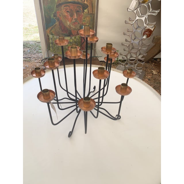 1950s 1950s Mid Century Copper Brass and Iron Candle Holder Centerpiece For Sale - Image 5 of 7