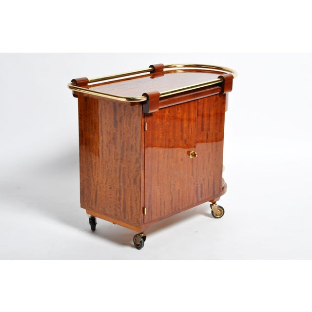 1960s Hungarian Mid-Century Modern Mahogany Bar Cart For Sale - Image 5 of 13